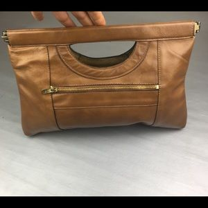 Vintage tan leather clutch bag